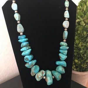 💙BIG Vintage Turquoise Nugget Necklace Necklace😱